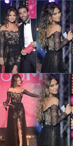 Charming Black Lace Off Shoulder Long Sleeves Side Split Sexy High Quality Prom Dress, PD0407 #fashion dress#promdress #promdress #partydress #eveningdresses