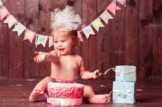Baby with birthday cake by morrowlight on @creativemarket