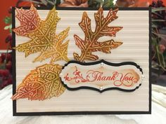 Fall thank you card with leaves