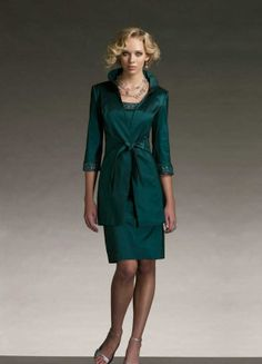 mother of the groom | Taffeta V-Neck Sheath Short Mother Of The Groom Dress with Matching Jacket (in another color)