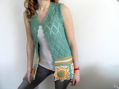 This nice summer vest was crocheted by me. It is made of %100 cotton yarn. The pattern is so cute. You can wear it with night dress or with daily