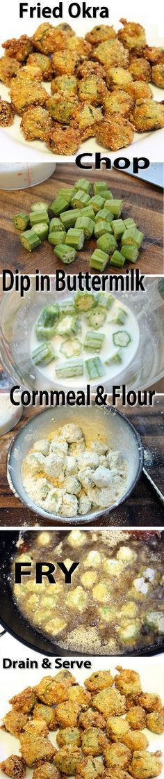 Fried Okra Recipe // Yumm! In Oklahoma, we also add in chopped onions, tomatoes and potatoes. All covered in a crispy cornmeal coating. TDF