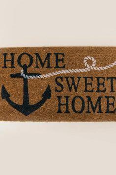 Rubber Cal U0027Welcome Aboardu0027 Coir Nautical Door Mat (Blue), Black | Nautical  Door Mats, Products And Doors