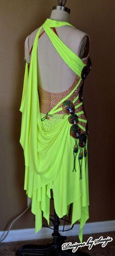 Custom made lime/peacock Latin Dance Costume designed and created by Sonja Ballin. All Designs copyright ©2014, Sonja Ballin of Tampa Bay, Florida. www.sonjadesigns.com Check us out  (and like) on Facebook:  https://www.facebook.com/pages/Designs-By-Sonja/220737151285770
