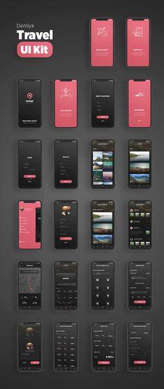 Demlyk travel ios ui kit - ui kits on app development, ios app, android Web And App Design, Ios App Design, Mobile Ui Design, User Interface Design, Desing App, Interface App, Android App Design, Ui Design Tutorial, Graphisches Design