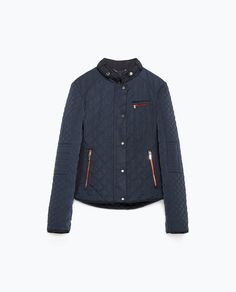 Image result for lyst quilted zara jacket in navy