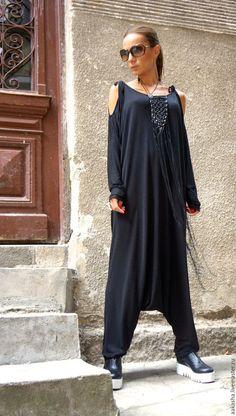 комбинезон стильный черный комбинезон с длинными рукавами свободный стиль модная одежда дизайнерская одежда свободный костюм спортивный костюм
