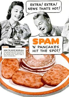 "Pancakes with SPAM vintage ad. Looks like he is saying ""Eek"""