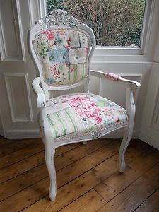 Patchwork bedroom chair, would be cute for a vanity