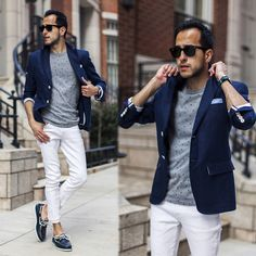 Navy Blazer, Gray Long Sleeve Tee, White Jeans, and Navy Boat Shoes, Men's Spring Summer Fashion.
