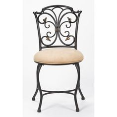 Hillsdale Furniture Sparta Vanity Stool, Black Gold