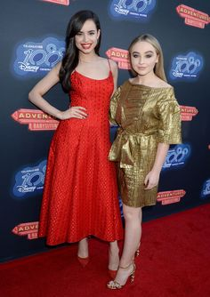 Sabrina and Sofia Carson at the premiere of Adventures In Babysitting