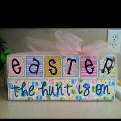 Easter blocks w/ tulle
