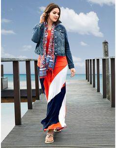 eb25766e193 Plus Size Diagonal Stripe Maxi Skirt by Lane Bryant