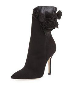 Carmen Suede Flower Ankle Boot, Black by Oscar de la Renta at Neiman Marcus.