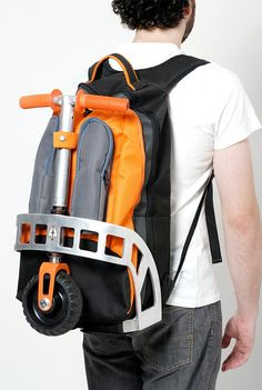 Technologically innovative bag pack that doubles over as a scooter!