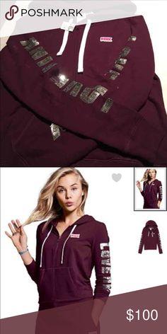 PINK Bling Full Zip Hoodie. Black Orchid Brand New. PINK Victoria's Secret Tops Sweatshirts & Hoodies
