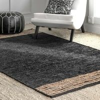 Shop The Curated Nomad Kowolska Black Jute Handmade Casual Solid Tassel Area Rug - On Sale - Overstock - 27299859 - 8' x 10' - Black Area Rugs For Sale, Rug Store, Cool Rugs, Indoor Rugs, Online Home Decor Stores, Rugs Online, Colorful Rugs, Jute, Tassel
