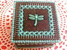 Black and Aqua Dragonfly Trinket Box by ghostgap on Etsy, $6.50