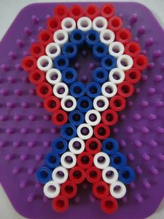 Pride Ribbon_Perler Beads Melty Bead Patterns, Pearler Bead Patterns, Perler Patterns, Beading Patterns, Bracelet Patterns, O Beads, Fuse Beads, Diy Perler Beads, Perler Bead Art