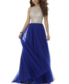 BONBETE Open Back Heavy Beaded A Line Formal Tulle Royal Blue Prom Dress Crystal Evening Dress