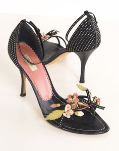 Prada Black Open-toe Heels with Leather Floral Trim.