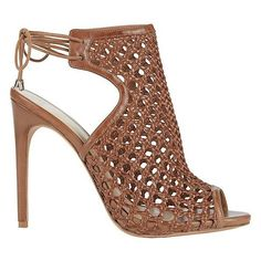 Alexandre Birman Women's Jackye Crochet Leather Brown High Heel... ($795) via Polyvore featuring shoes, sandals, heeled sandals, brown heeled sandals, strappy leather sandals, strappy sandals and high heel stilettos