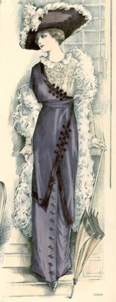 Asymmetrical Edwardian dress from De Gracieuse magazine, 1912
