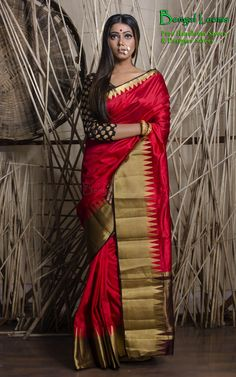 A beautiful Red Cotton Banarasi Saree available for Sale from Bengal Looms