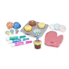 All Melissa & Doug toys are great, however these are cute because you can actually draw decorations on the cupcakes (& then wipe off).
