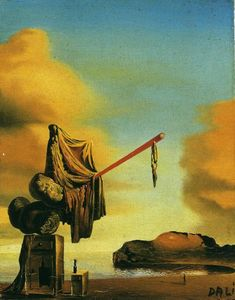 Dreams on a Beach, 1934, Salvador Dali Size: 7x9 cm Medium: oil, wood