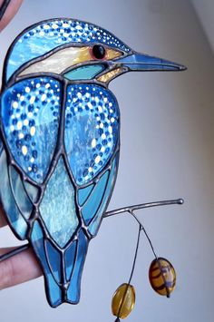 Handmade Artwork Hand Drawn bee Pattern Decorative Bottle Glass vase Exquisite Ornaments Mug Blue