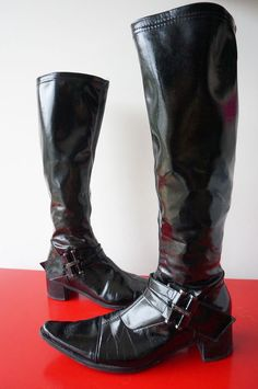 Bottes Boots J b MARTIN CUIR verni sTREtCH cHAUSsettes Taille 40 TBE lEATHER