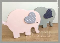 Freestanding elephants, with fabric covered ear, can be personalised along the top of the  elephant with a name and/or date of birth. A perfect new baby gift! £12.50 each plus p&p.