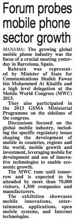 Gulf Daily News Feb 27, 2013: Forum Probes Mobile Phone Sector Growth