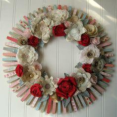 Clothespin  Floral Wreath  handmade paper by hopeandjoystudios, $70.00