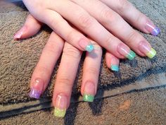 Multicolor & Glitter French Nails