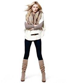 MICHAEL Michael Kors Faux-Fur Buckle Poncho, Pull-On Denim Leggings & Regina Platform Boots