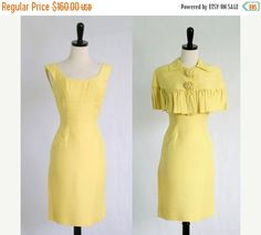 1960s Silk Sheath/Dress with Cape >>>Lilli Diamond  $118 >>>> by SassySisterVintage #yellowcocktaildress #1950sdress #1950scocktaildress #50sdress #vintagedresses