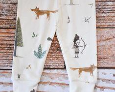 leggings orgánicos bebé, pantalones del bebé, polainas del bebé, pantalones de niño, leggings niño orgánicos, bosque, zorro, indio, flechas, orgánica del bebé