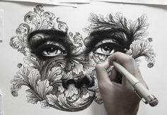 Stunning Pen Drawings Created with Thousands of Tiny Dots!  Using thousands upon thousands of tiny dots, Spider Money produces gorgeous artworks that are awe-inspiring in their detail. The Bangkok-based creative wields a mighty Micron pen and draws fancy flourishes with photo-realistic depictions of eyes, noses, and lips.