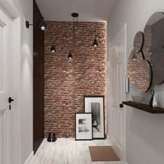Metal Wall Art Home Decoration Home Office Design, Home Interior Design, Interior Architecture, House Design, Industrial Home Design, Industrial House, Brick Bathroom, Corridor Design, Brick Interior