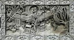 A carved brick with garden image - traditional Chinese brick carving