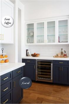 Two-toned painted cabinets in the kitchen are a hot trend that is here to stay! Here are some timeless paint color combos to consider for your kitchen to break up an all white kitchen. White and navy kitchen cabinets. Navy Kitchen Cabinets, Kitchen Cabinet Colors, White Cabinets, Two Tone Cabinets, Kitchens With Painted Cabinets, Different Color Kitchen Cabinets, Timeless Kitchen Cabinets, Off White Kitchen Cabinets, Painting Kitchen Cabinets White