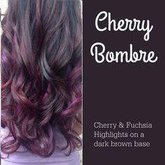 Cherry Bombre hair color idea. Cherry and fuchsia highlights on a dark brown base