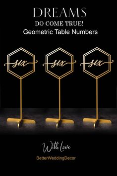 Table Numbers - Sale Freestanding Gold Table numbers - Geometric Table Numbers-Please Enter your phone number in the quot;NOTE to the seller quot; Wedding Place Names, Wedding Place Settings, Wedding Places, Wedding Signs, Wedding Decor, Wedding Reception, Wood Table Numbers, Wedding Table Numbers, Lettering