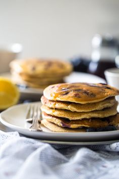 Blueberry Gluten Free Pancakes with Quinoa ~ Gluten free pancakes loaded with blueberries, quinoa and a pop of fresh lemon! They're protein-packed and make a delicious, healthy breakfast! ~ http://www.julieseatsandtreats.com