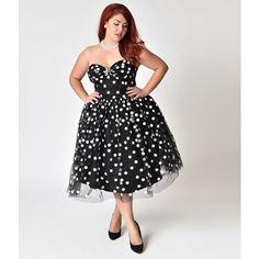 082f5a9c959f7f Janie Bryant For Unique Vintage Plus Size Black & White Dot Strapless.