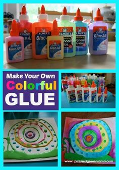 * How To Make Elmer's Glue Rainbow Glue - ReCycle Those Half-Empty Glue Bottles! We rounded up all of the half-empty glue containers and added squirts of acrylic craft paint to them. Arts And Crafts Projects, Projects For Kids, Fun Crafts, Diy And Crafts, Crafts For Kids, Man Projects, Kid Friendly Art, Elmer's Glue, Gel Glue