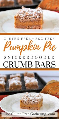 The Gluten Free Gathering - Gluten Free & Egg Free Pumpkin Pie Snickerdoodle Crumb Bars Thinking about Thanksgiving desserts yet? Try my GLUTEN FREE & EGG FREE PUMPKIN PIE SNICKERDOODLE CRUMB BARS. They have a creamy pumpkin filling and a cinnamon snickerdoodle crumb topping that is simply irresistible. #glutenfree #eggfree #pumpkinpie #snickerdoodles #pie #pumpkinrecipes #glutenfreerecipes #glutenfreedesserts #glutenfreepumpkinpie #holidayrecipes #Thanksgivingdesserts…